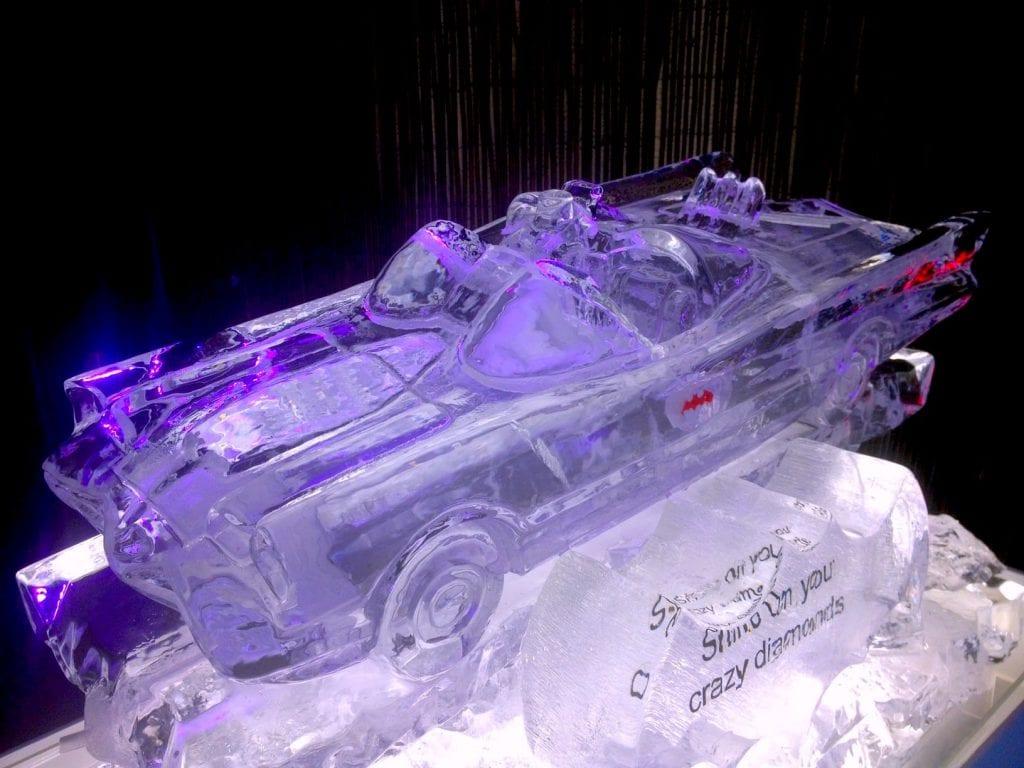 Batmobile ice luge designed for wedding