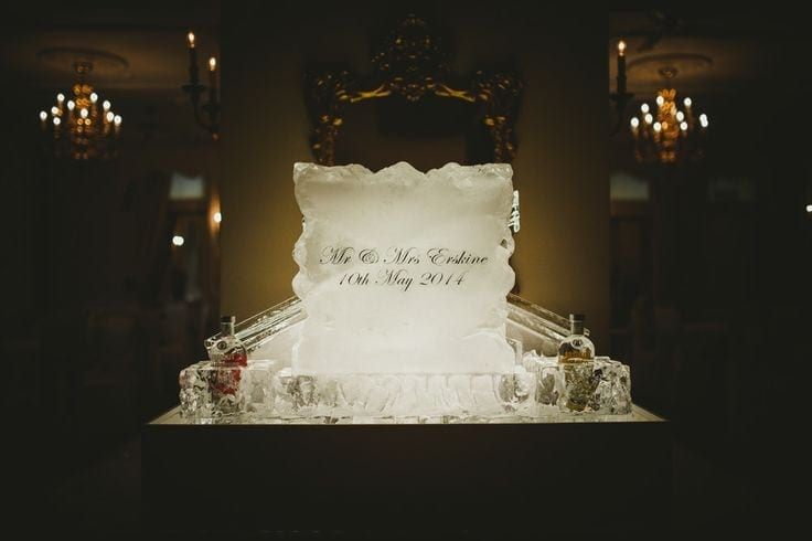 Engraved ice sculpture for wedding