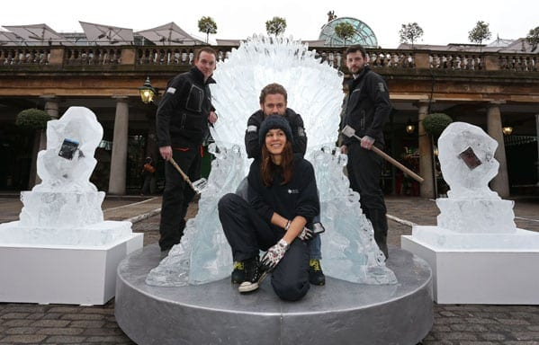 Game of Thrones, giant ice throne, Covent Garden, London, 16th February 2015